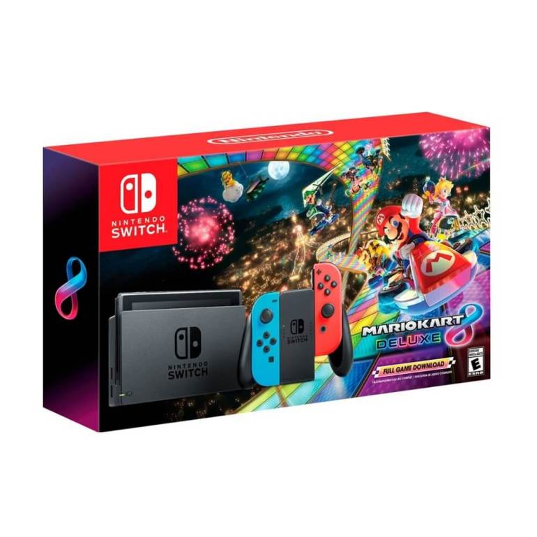 Nintendo - Switch with Mario Kart 8 Deluxe Console Bundle - Neon Red/Neon Blue Joy-Con