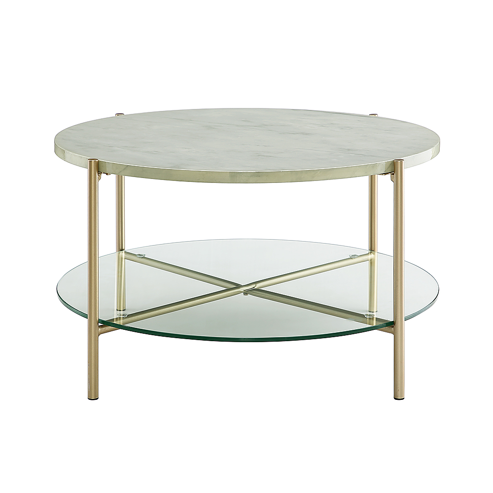 walker edison modern round coffee table faux white marble glass gold