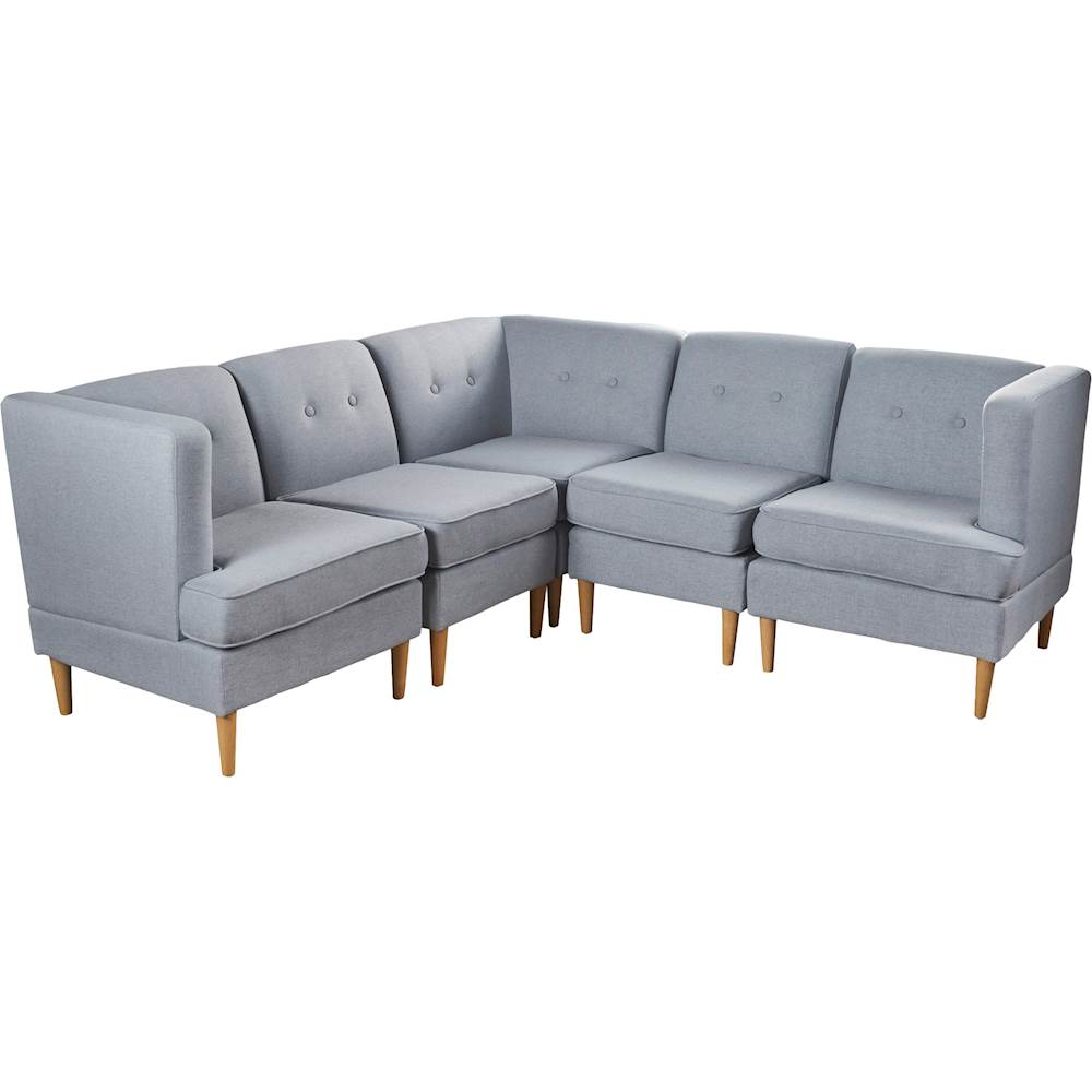 noble house andover fabric 5 piece sectional sofa light gray