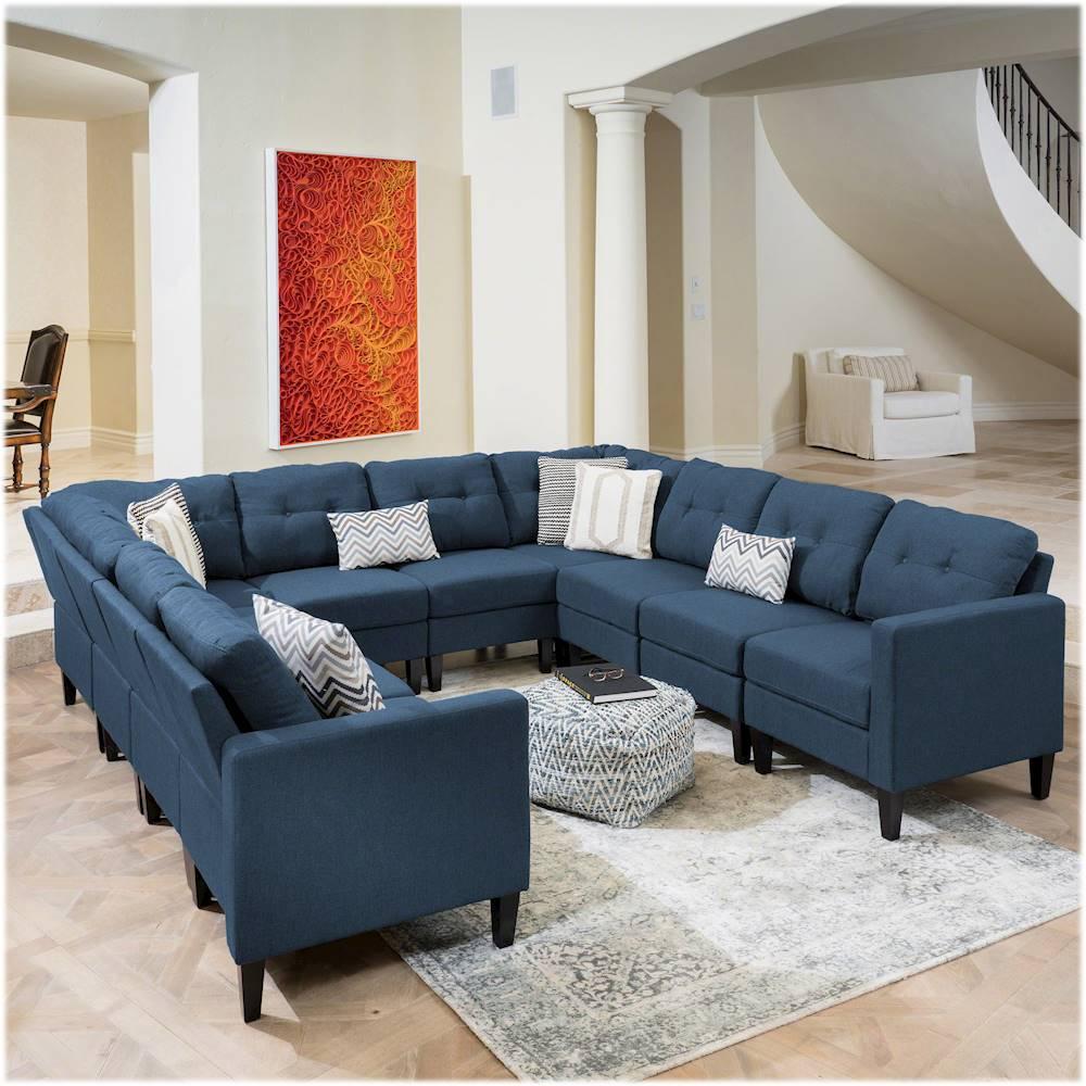 noble house aberfoil u shaped fabric 10 piece sectional sofa navy blue
