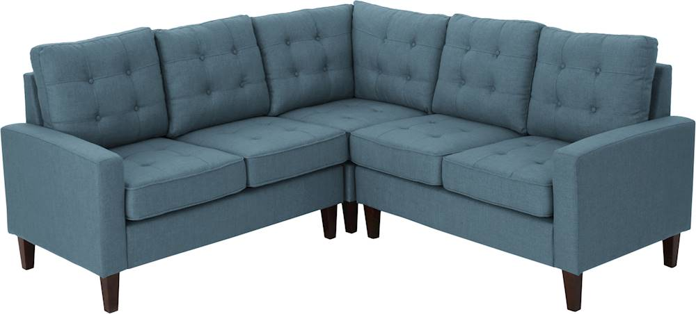 noble house dora l shaped mid century modern 3 piece sectional sofa blue