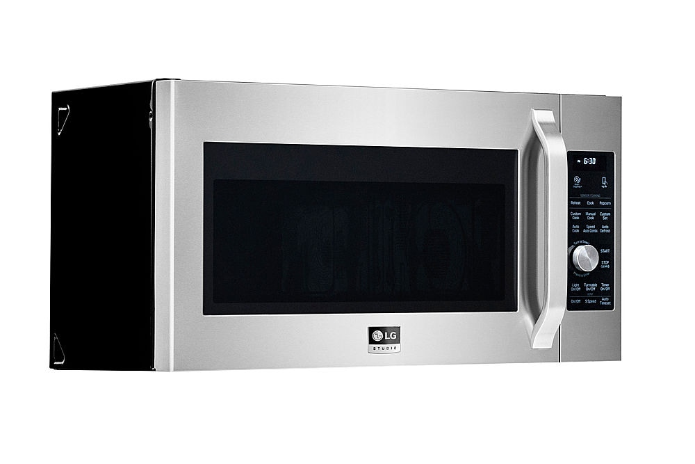 lg studio 1 7 cu ft convection over the range microwave oven with sensor cook printproof stainless steel