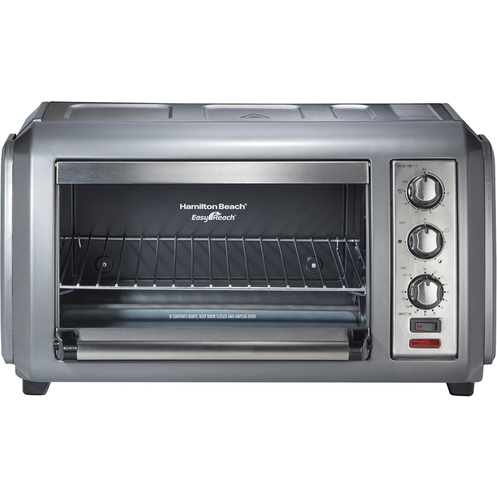 hamilton beach easy reach 6 slice toaster oven gray