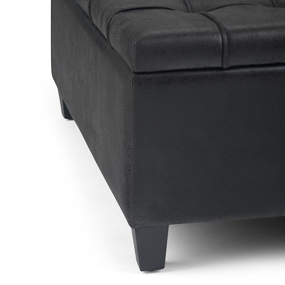 simpli home harrison 36 inch wide traditional square coffee table storage ottoman distressed black
