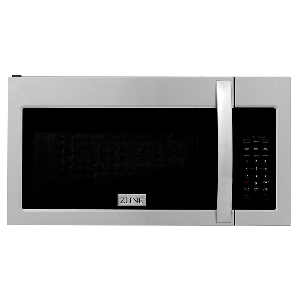 zline over the range convection microwave oven in stainless steel with modern handle and sensor cooking stainless steel