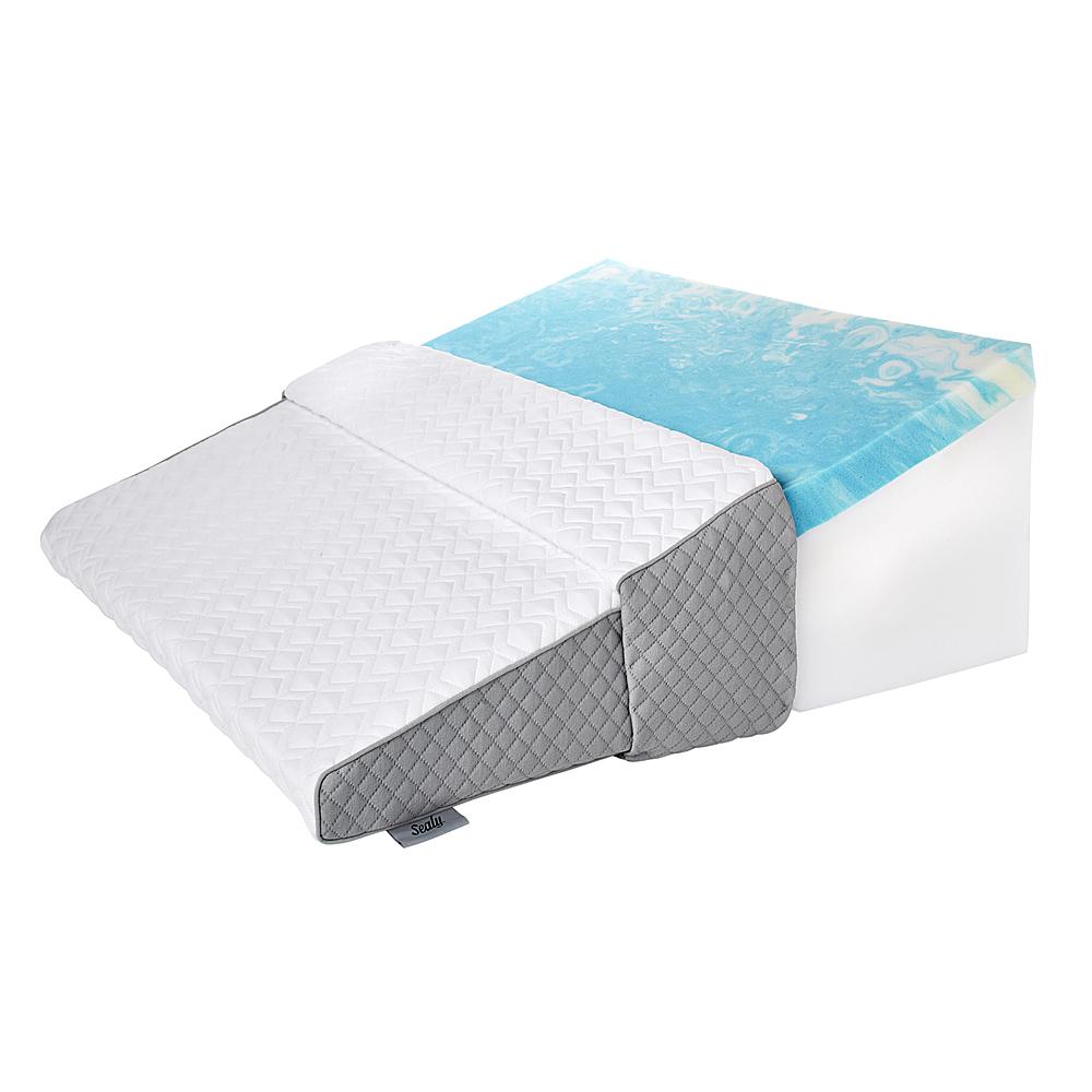 sealy gel memory foam wedge pillow white gray