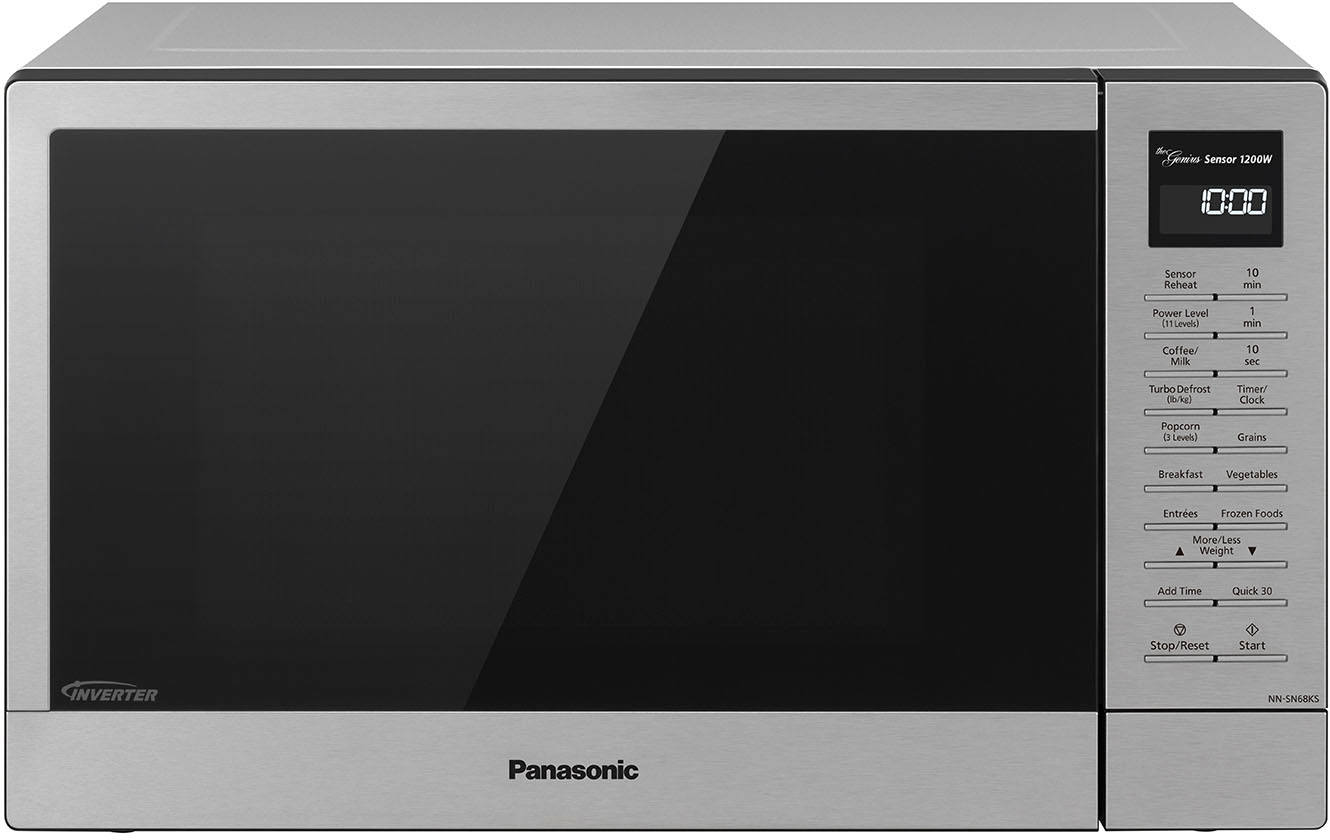panasonic compact microwave oven with 1200w power sensor cooking popcorn button quick 30sec turbo defrost stainless steel