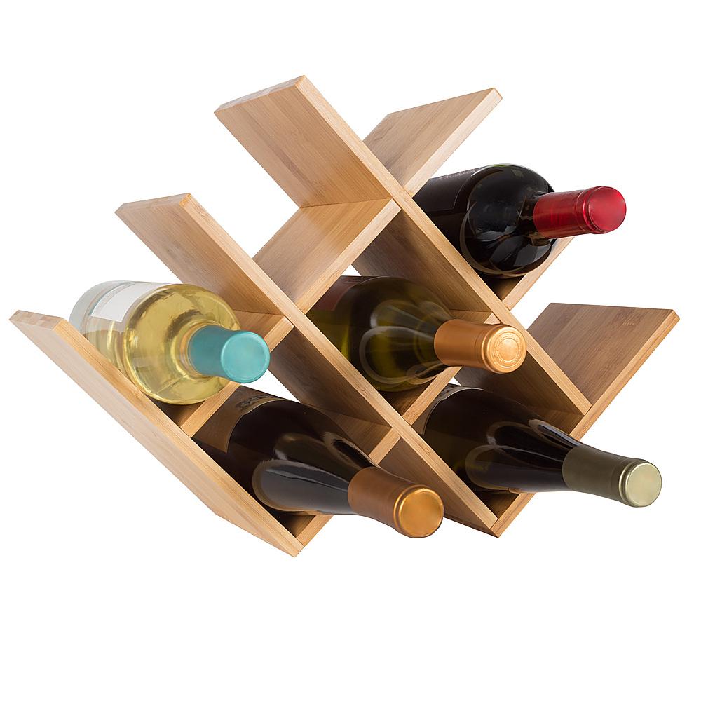 hastings home bamboo 8 bottle wine rack tabletop free standing wine bottle holder for kitchen bar dining room modern storage shelf bamboo