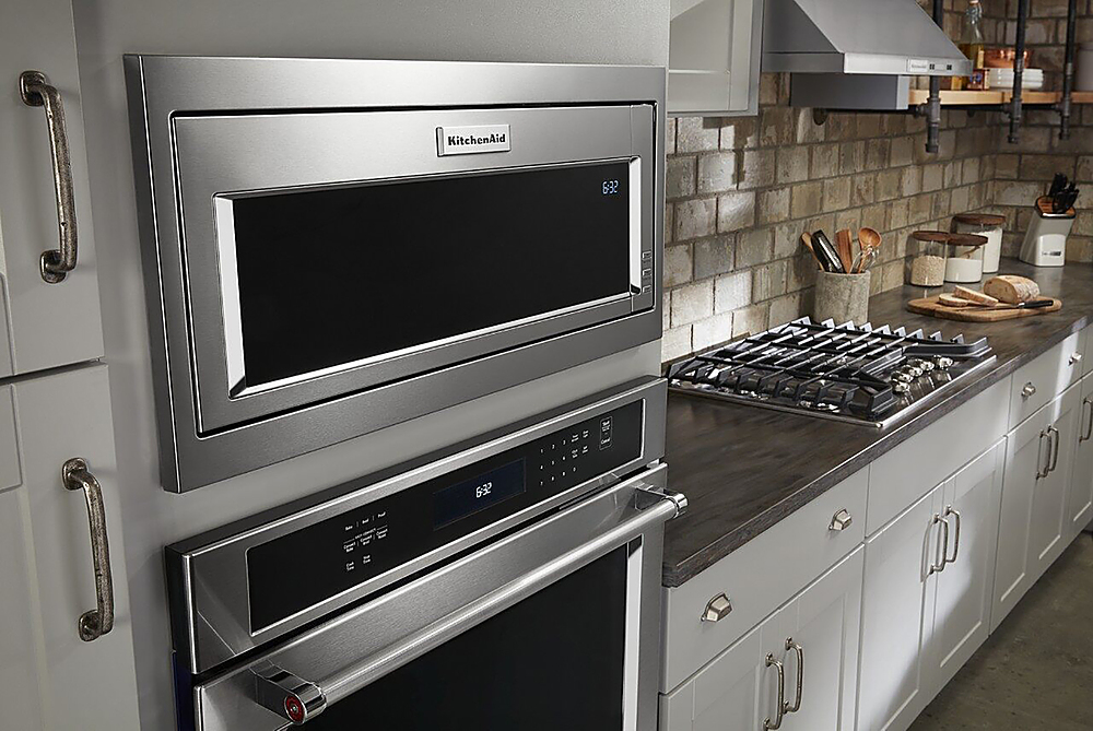 kitchenaid 1 1 cu ft built in low profile microwave with slim trim kit stainless steel