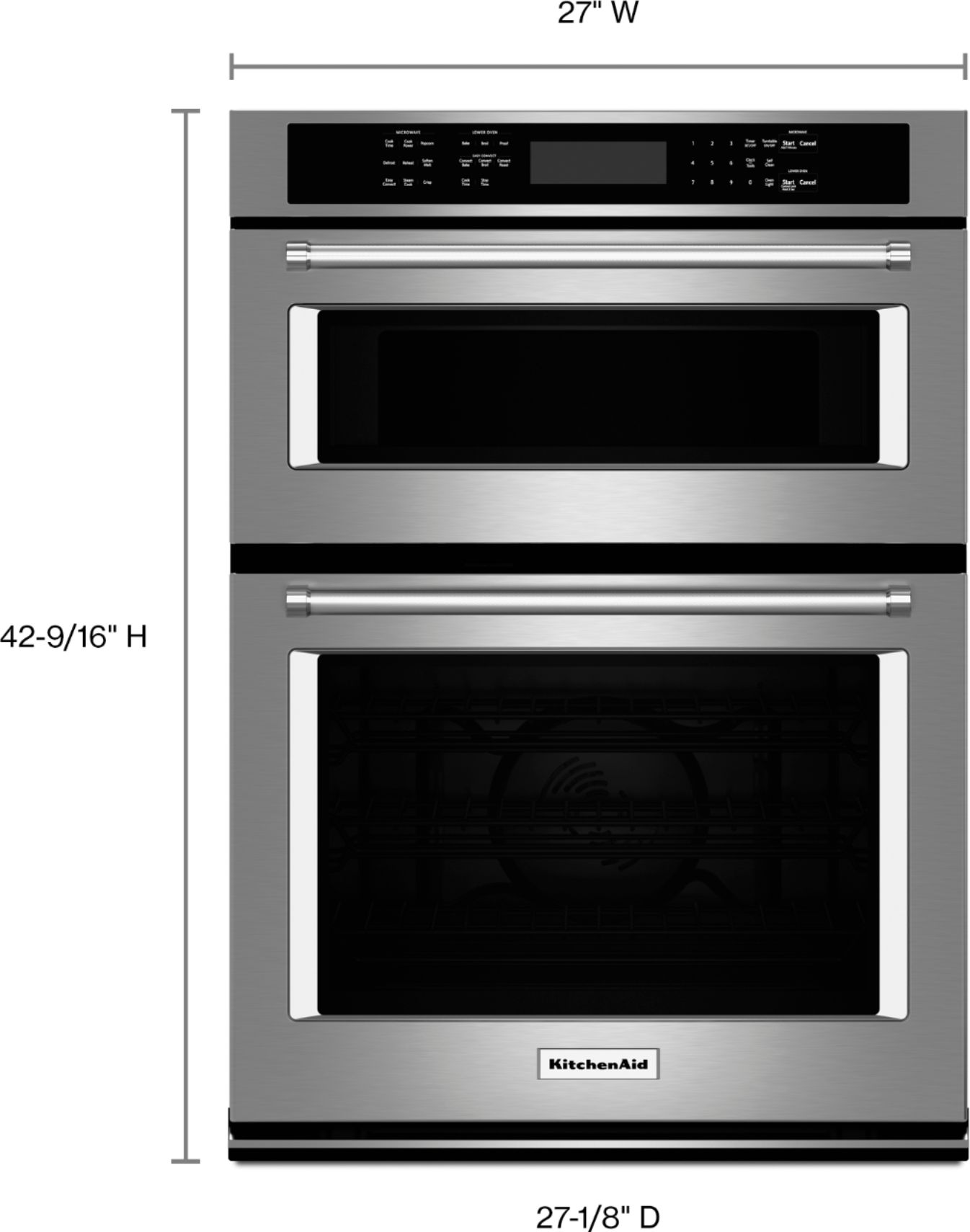 kitchenaid 27 single electric convection wall oven with built in microwave stainless steel