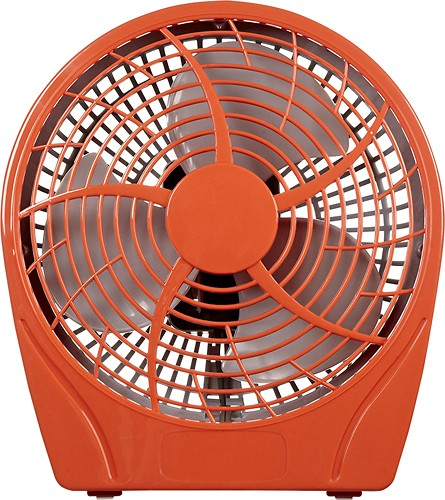 "Dynex™ - 9"" Table Fan - Poppy Red - Larger Front"