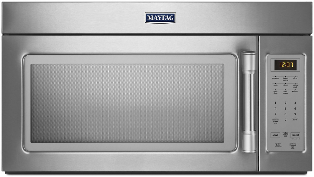 maytag 1 7 cu ft over the range microwave stainless steel