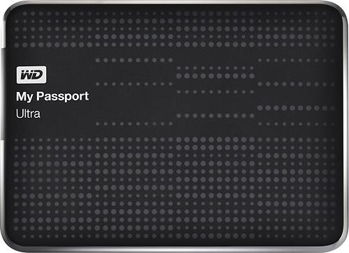 WD - My Passport Ultra 1TB External USB 3.0 Hard Drive - Black - Larger Front