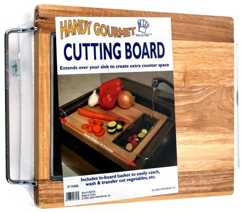 chef buddy sink cutting board brown