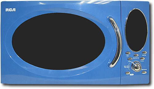 rca 0 9 cu ft mid size microwave blue