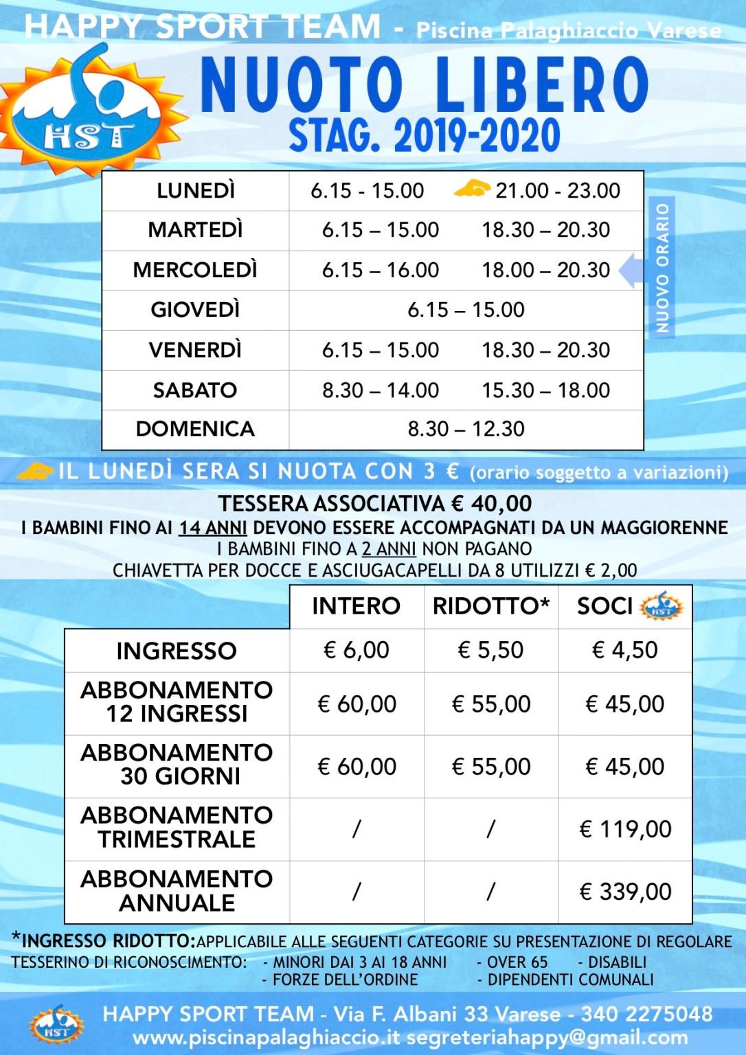 Prezzi-orari NUOTO LIBERO STAG 18-19
