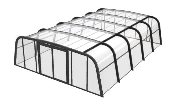 Abri haut AQUADISCOUNT en 3D pour démontrer les différents avantages de cet abri