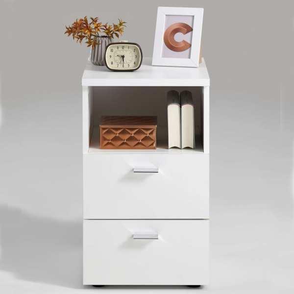 FMD Noptieră cu 2 sertare și raft deschis, alb