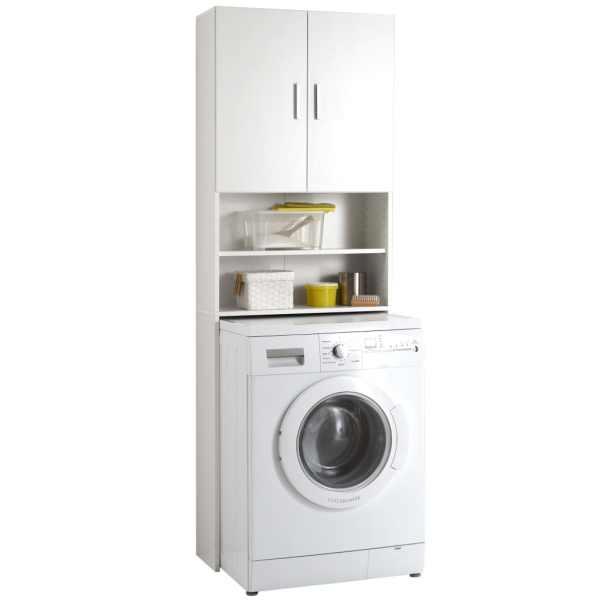 FMD Dulap pentru mașina de spălat cu spațiu de depozitare, alb