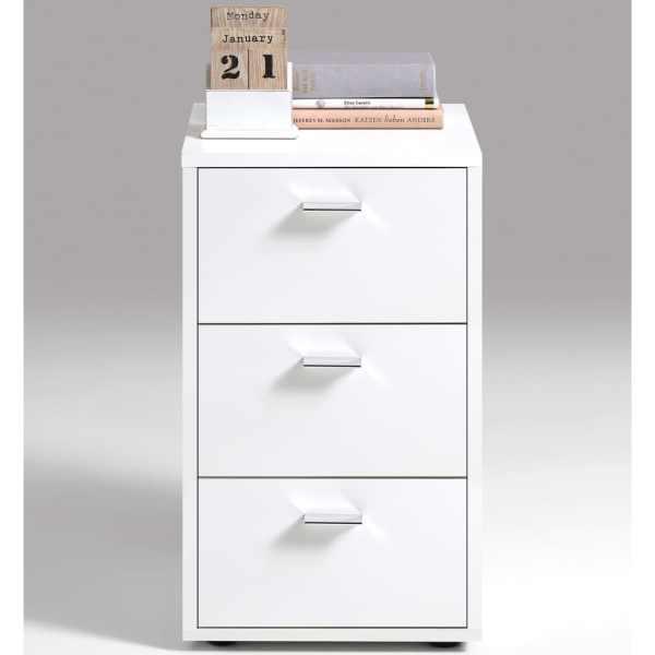 FMD Noptieră cu 3 sertare, alb