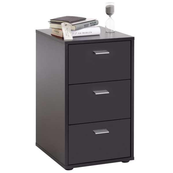 FMD Noptieră cu 3 sertare, negru