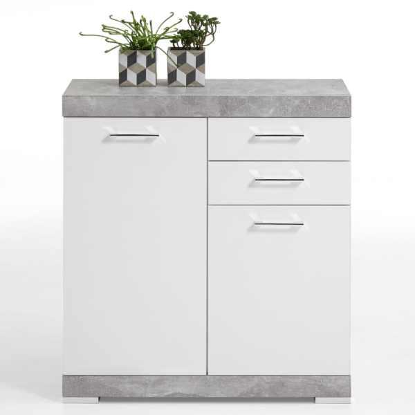 FMD Dulap cu 2 uși și 2 sertare, 80×34,9×89,9 cm, gri beton și alb
