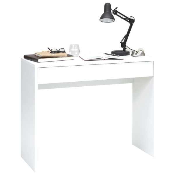 FMD Birou cu sertar lat, alb, 100 x 40 x 80 cm