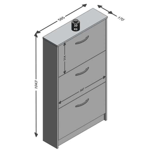 FMD Dulap încălțăminte cu 3 compartimente înclinabile, alb