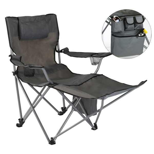 HI Scaun de camping de lux cu suport de picioare, antracit