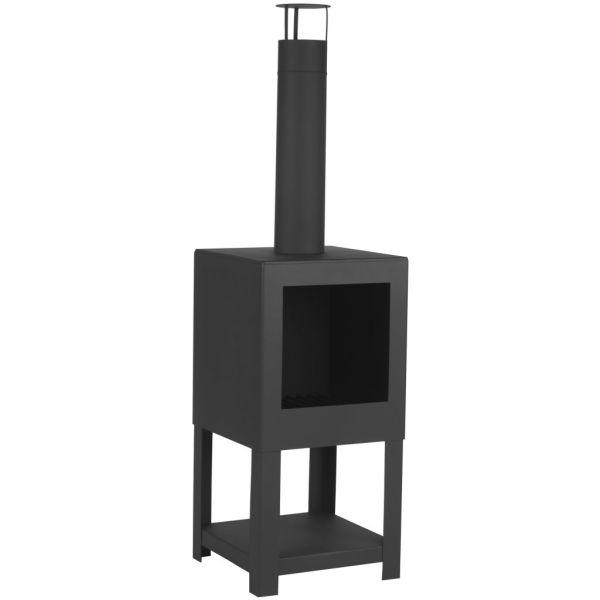 Esschert Design Șemineu de exterior cu spațiu depozitare lemne, negru