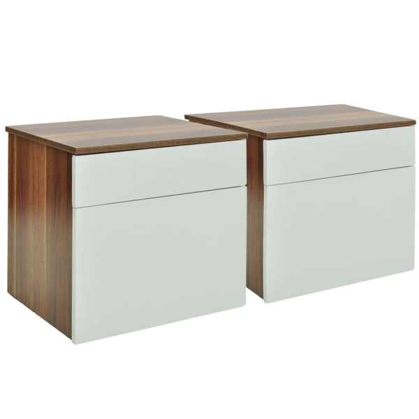vidaXL Noptieră cu un sertar, 2 buc., maro/alb