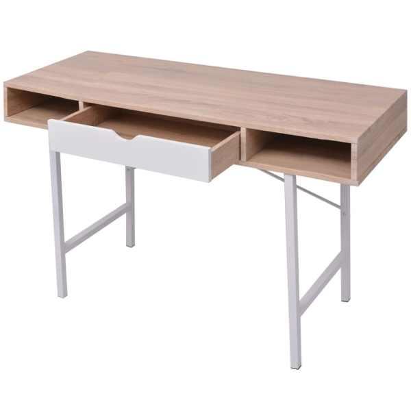 Birou cu un sertar, alb și culoarea stejarului