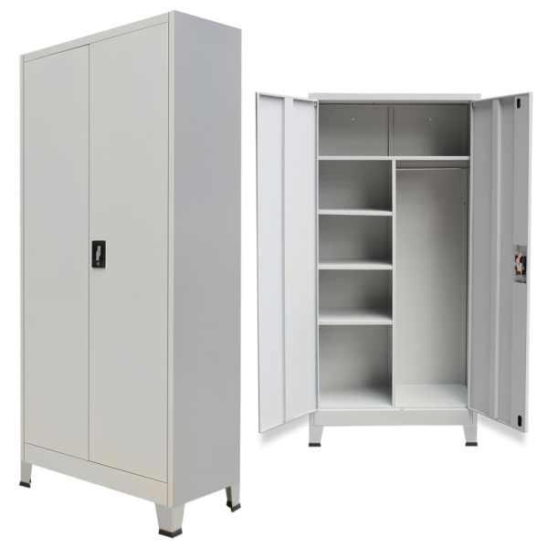 vidaXL Dulap de vestiar cu 2 uși din oțel 90 x 40 x 180 cm, gri
