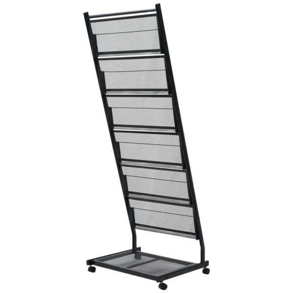 vidaXL Raft reviste A4, 47,5x43x133 cm, negru