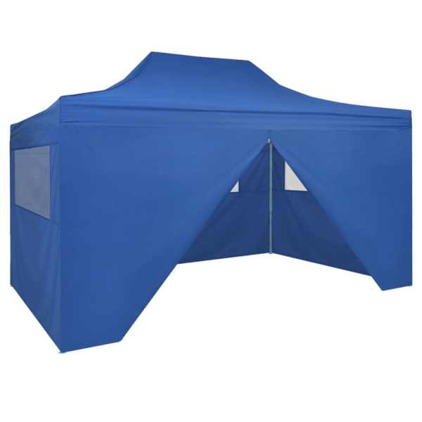 42512 vidaXL Foldable Tent Pop-Up with 4 Side Walls 3×4,5 m Blue