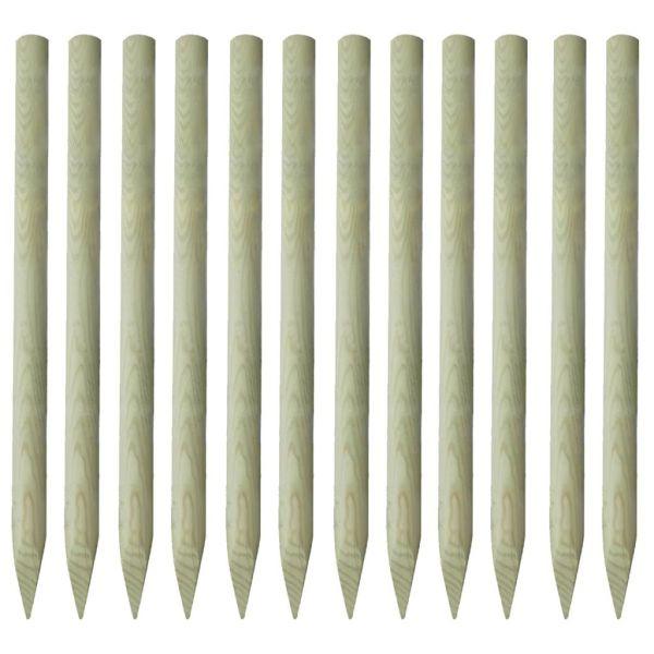 vidaXL Stâlpi de gard ascuțiți, 12 buc., 150 cm, lemn tratat