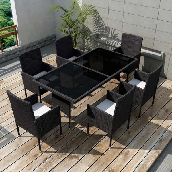vidaXL Set mobilier de exterior cu perne, 7 piese, negru, poliratan