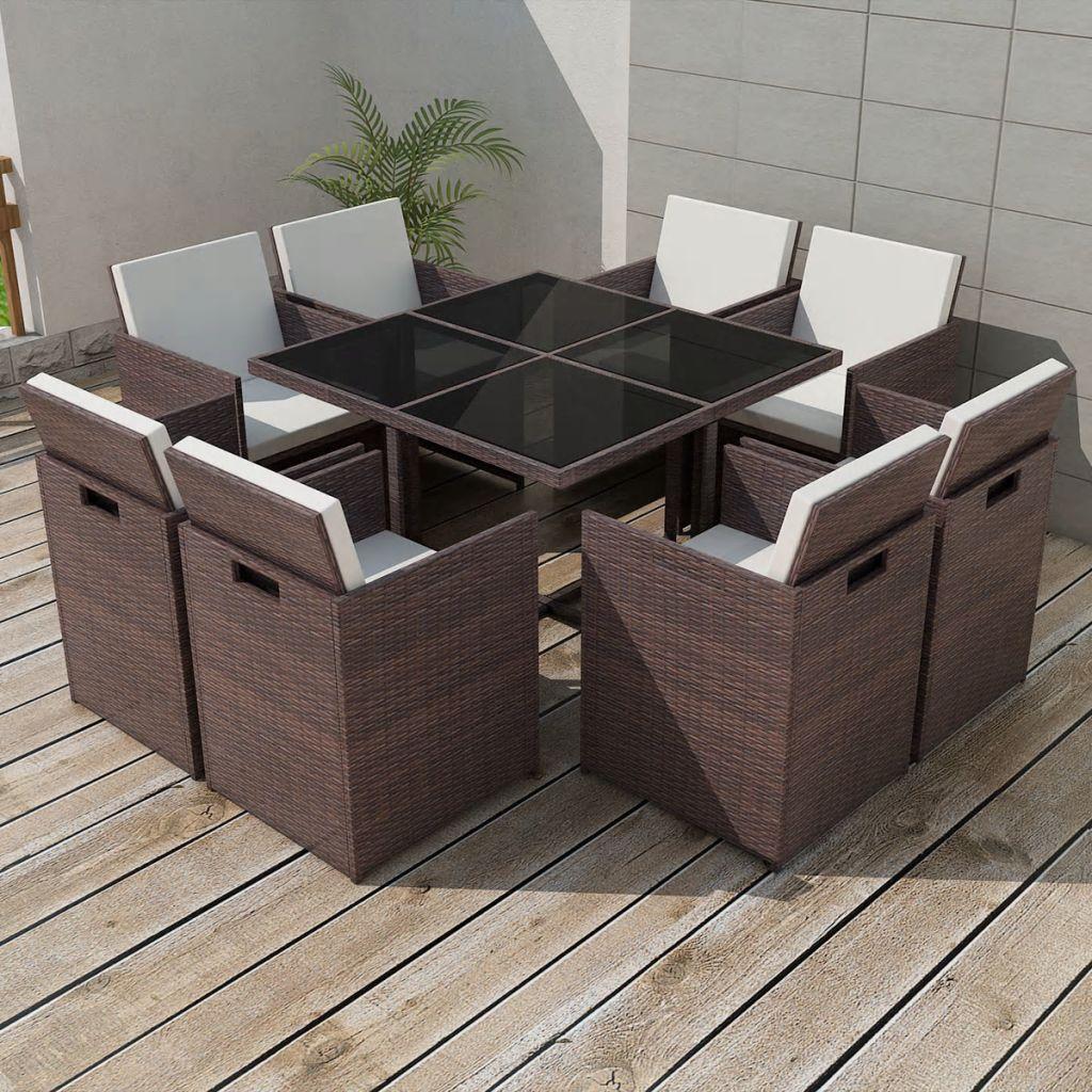 vidaXL Set mobilier de exterior cu perne, 9 piese, maro, poliratan
