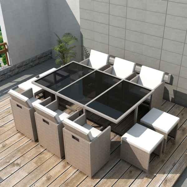 vidaXL Set mobilier de exterior cu perne, 11 piese, bej, poliratan