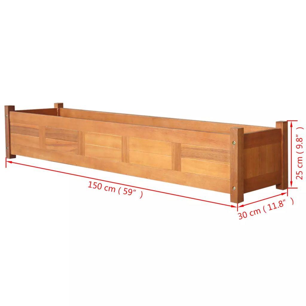Strat înălțat de grădină, 150x30x25 cm, lemn de acacia