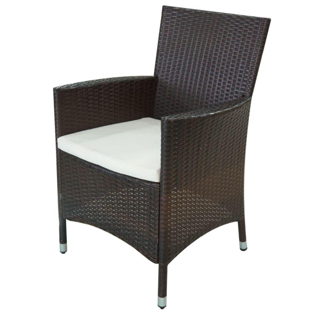 Set mobilier de exterior cu perne, 11 piese, maro, poliratan