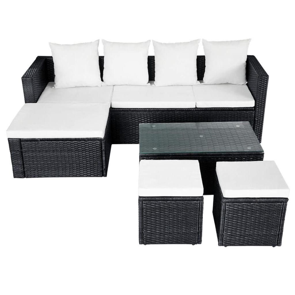 Set mobilier de grădină cu perne, 4 piese, negru, poliratan