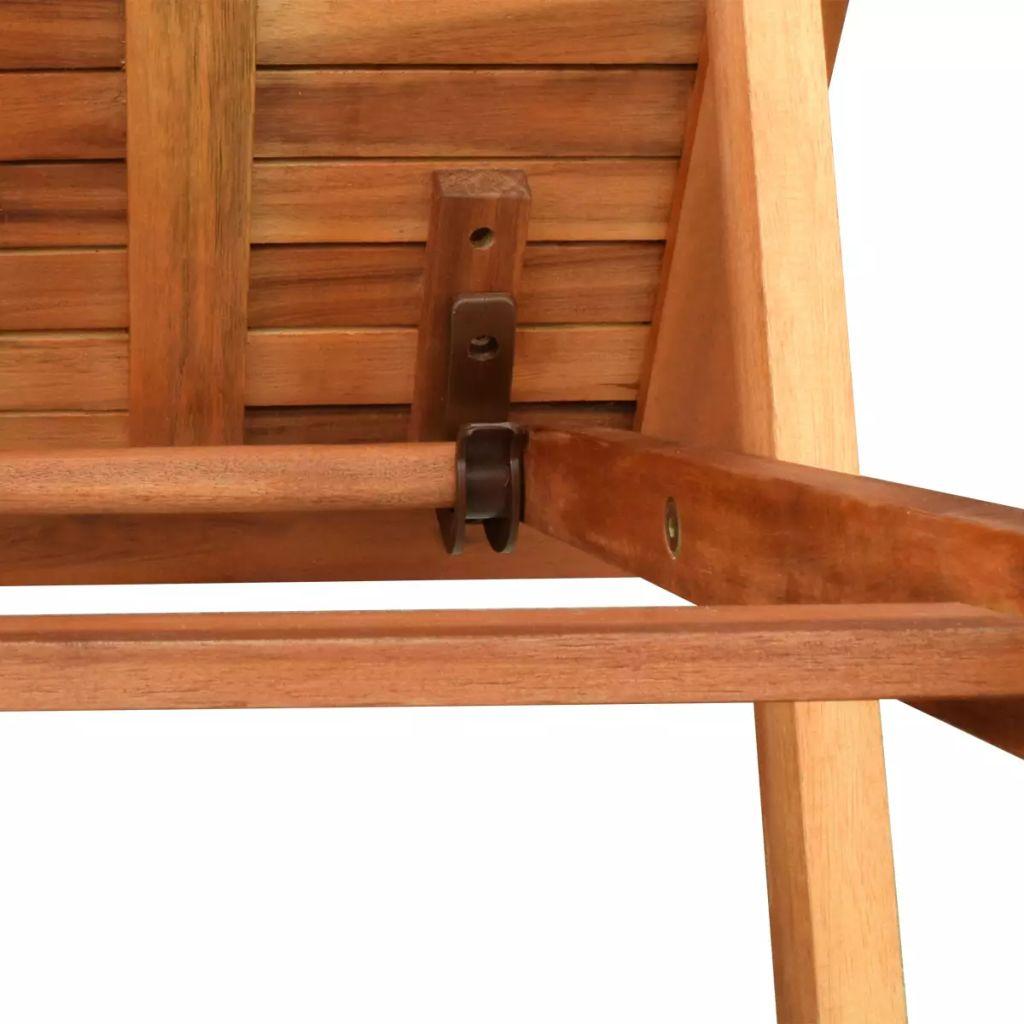 Șezlong de plajă cu masă, lemn masiv de acacia