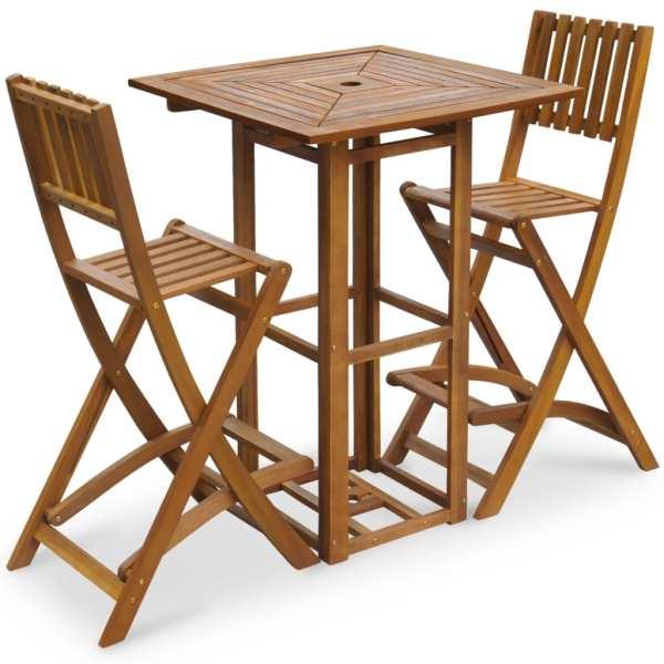 vidaXL Set bistro, 3 piese, lemn masiv de acacia