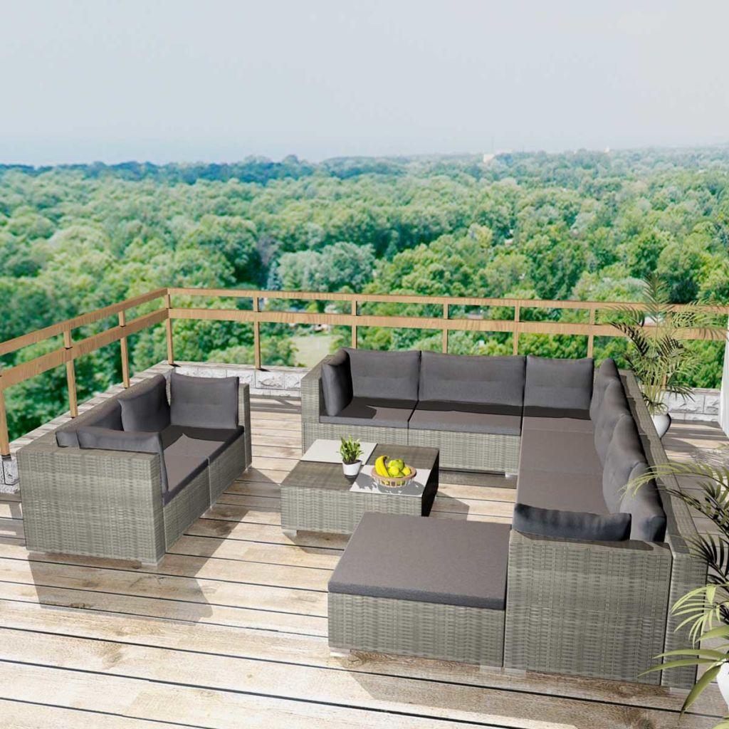 vidaXL Set mobilier de grădină cu perne, 10 piese, gri, poliratan