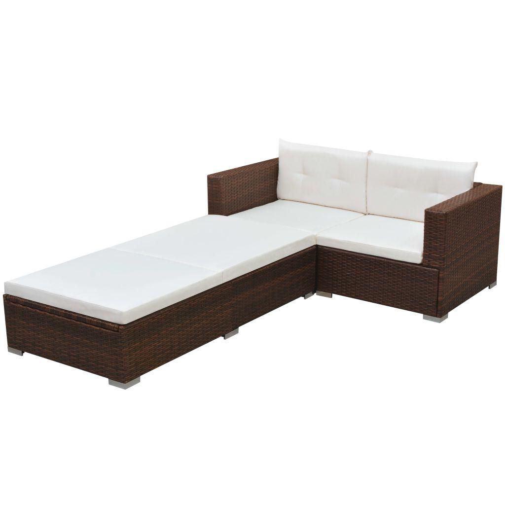 vidaXL Set mobilier de grădină cu perne, 3 piese, maro, poliratan