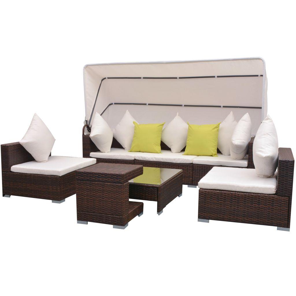 vidaXL Set mobilier de grădină cu baldachin, 7 piese, maro, poliratan