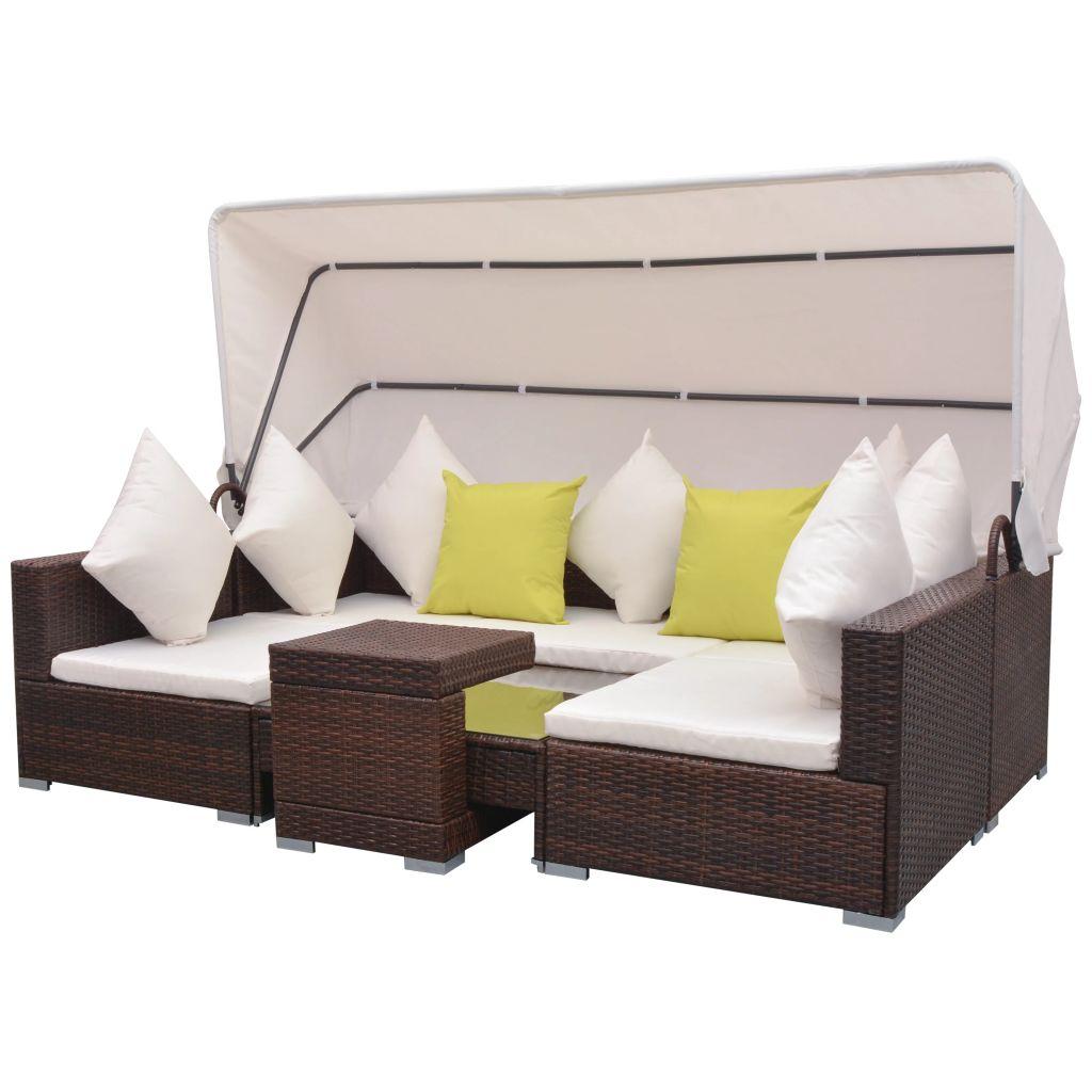 Set mobilier de grădină cu baldachin, 7 piese, maro, poliratan