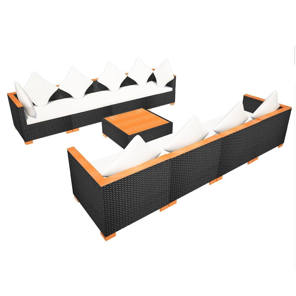 Set mobilier de grădină cu perne, 9 piese, negru, poliratan