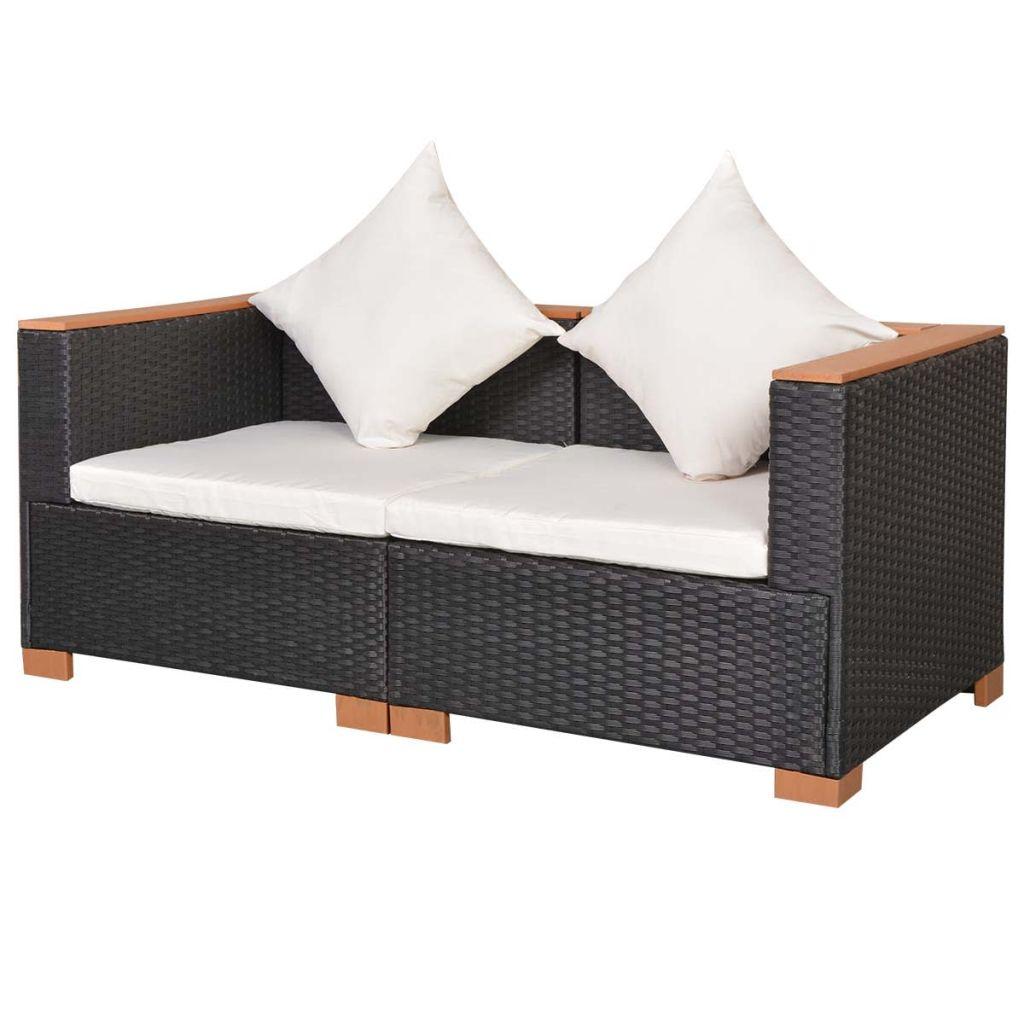 Canapea de grădină, negru, poliratan